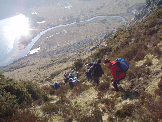 Hill Walking Club on steep ground